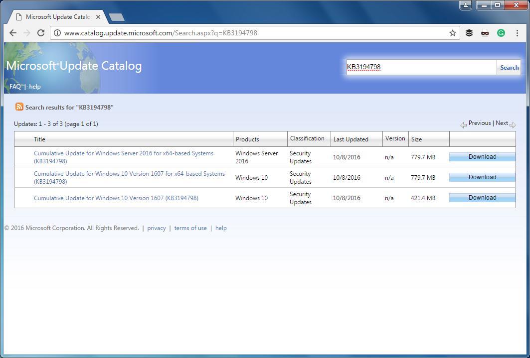 На сайт Update Catalog теперь можно зайти через браузеры