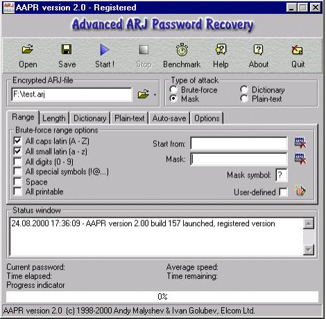 Окнопрограммы Advanced ARJ Password Recovery