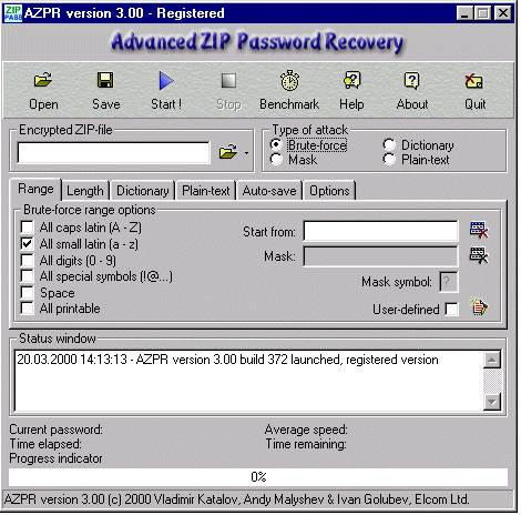 Окнопрограммы Advanced ZIP Password Recovery