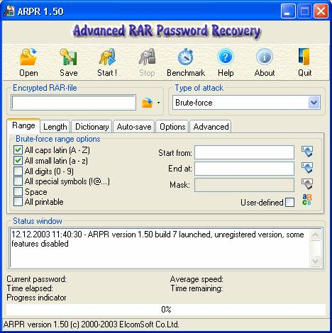 Окнопрограммы Advanced RAR Password recovery