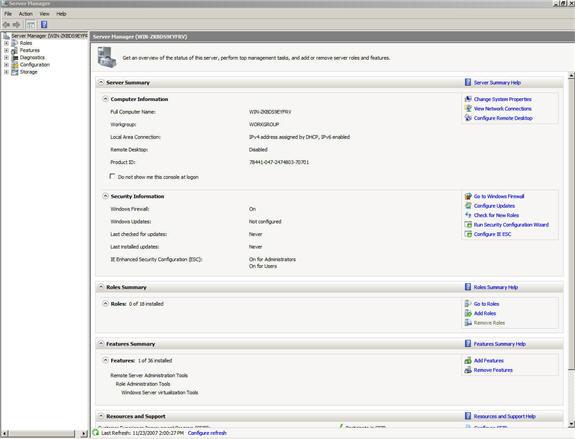 Рисунок 1: Менеджер сервера (Server Manager)