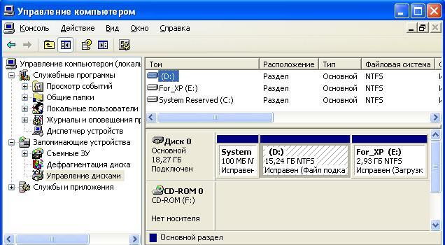 управление дисками Windows Xp - фото 2